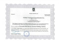 SkyWay, Share Certificate Globsl Transport Investment Inc