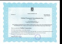 SkyWay, Share Certificate Global Transport Investment Inc etc