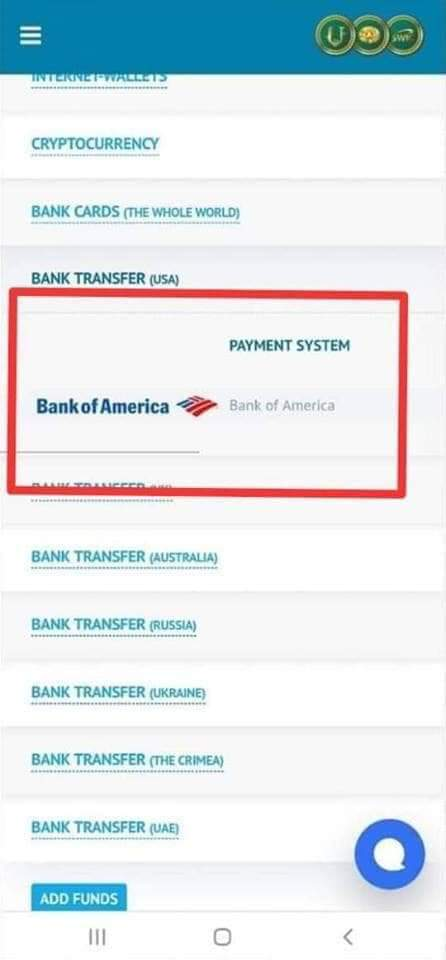 CRU Payment Transaction Bank of America