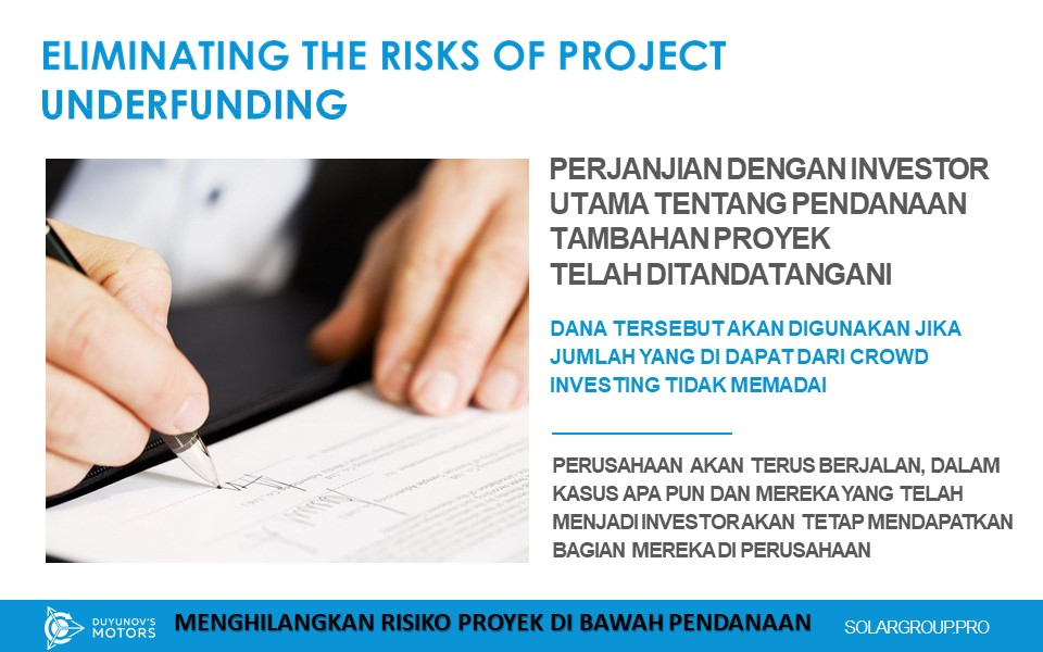 Duyunovs, Eliminating the Risks of Project Underfunding